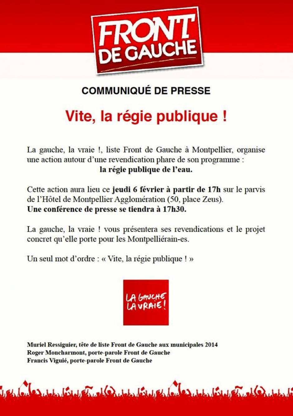 Communiqué de presse : VITE LA REGIE PUBLIQUE !