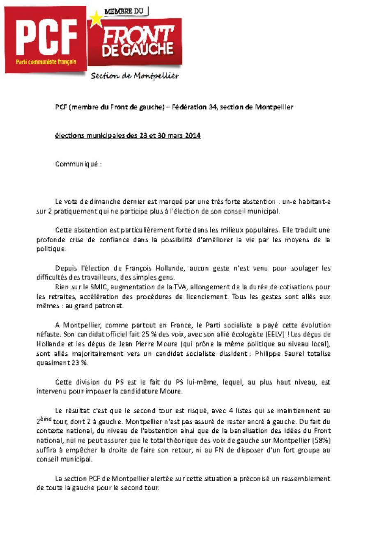 Elections municipales de Montpellier : Communiqué de presse de la section PCF-Front de Gauche
