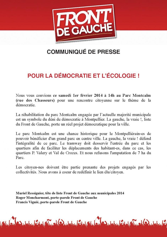 Communiqué de presse : POUR LA DÉMOCRATIE ET L'ÉCOLOGIE !