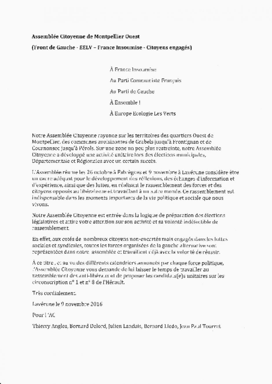 Réunion de l'Assemblée Citoyenne (1ère et 8ème Circonscription) à Fabrègues le 28 Novembre
