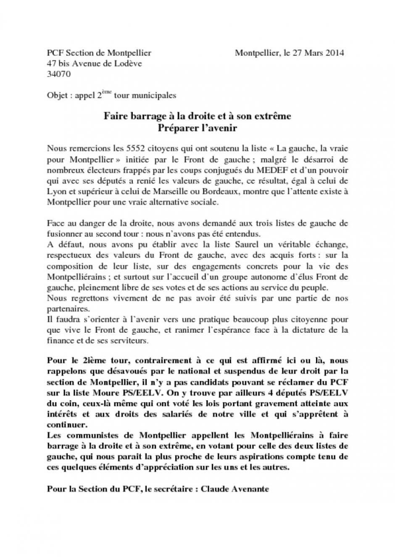 Appel de la section PCF-FdG pour le deuxième tour des élections municipales de Montpellier